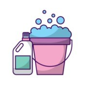 Illustration of a laundry soap bottle and a bucket.