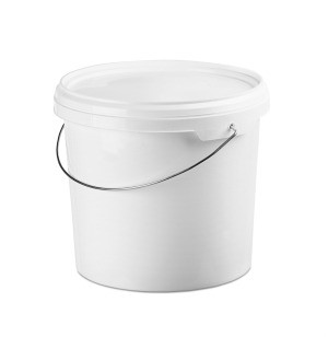 A white bucket, a suitable container for homemade laundry detergent.