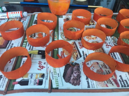 Cardboard Tube Pumpkin - paint the insides orange and allow to dry