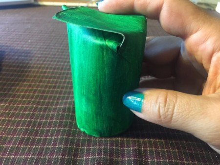 Cardboard Tube Pumpkin -fold the pieces down inside the tube