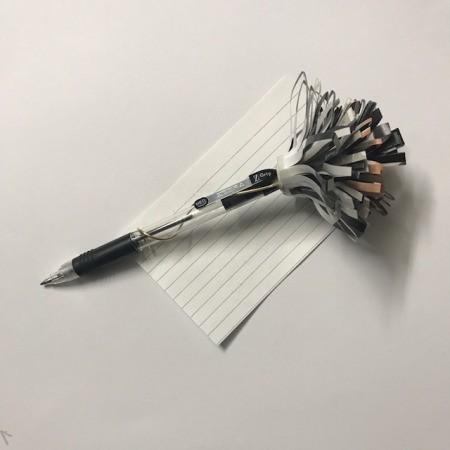 Recycled Catalog Flowers - flower on pen