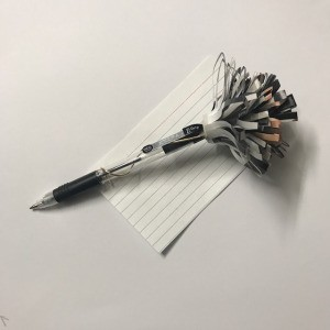Recycled Catalog Flowers - flower on pen