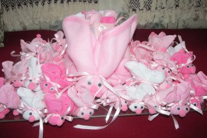 Make Boo-Boo Bunnies For a Baby Shower - finished display of small bunnies surrounding the large one