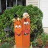 Scrap Wood Halloween Decorations - goofy pumpkin like faces