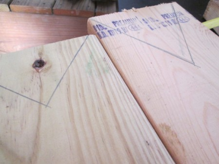 Scrap Wood Halloween Decorations - marking for V cut for ears