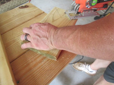 Scrap Wood Halloween Decorations - using a jig saw to cut ears