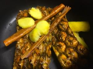 Pineapple Peel, ginger and cinnamon in pan