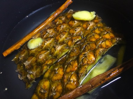 Pineapple Peel, ginger and cinnamon in water
