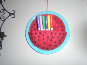 Watermelon Paper Plate Supply Holder - finished watermelon paper plate holder with markers in pocket