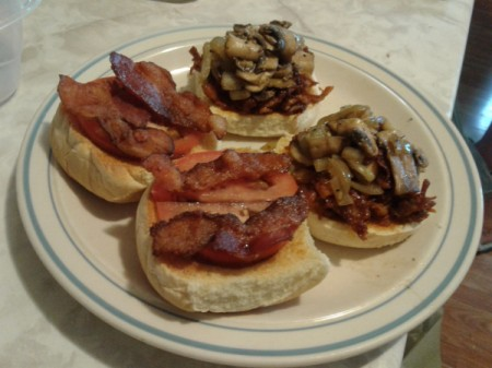 Barbecue Pulled Pork Bacon Burgers on plate