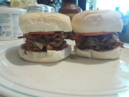 Barbecue Pulled Pork Bacon Burgers on plate ingredients