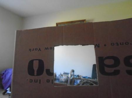 Making a Cardboard Dog House - window