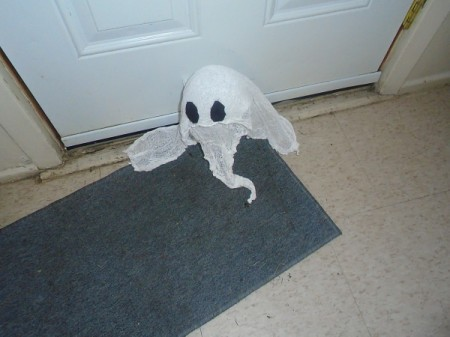 Halloween Ghost - ghost on floor by door