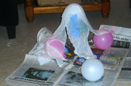 Halloween Ghost - cheesecloth spread over balloons to shape