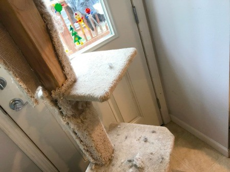 Refinishing a Cat Tree - carpet removed