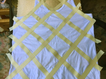 Tape-Dyed Top - lay down the tape diagonally in one direction
