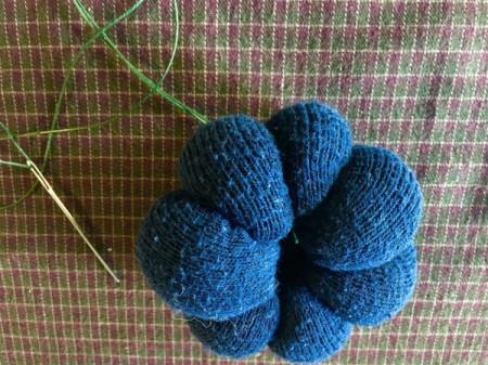 Mini Sock Pumpkins - go through the center again and continue making ridges