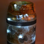 Silhouette Jar Storm Lantern - jar with lights added