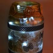 Silhouette Jar Storm Lantern - jar with lights added
