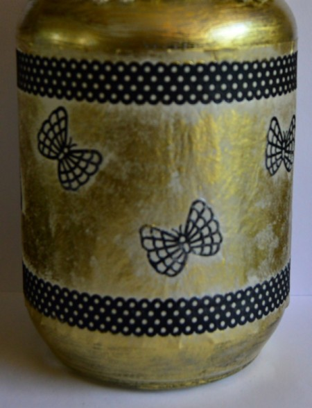 Silhouette Jar Storm Lantern - use Modge Podge and dusting powder to dab color around the tape and butterflies and the exposed parts of the jar