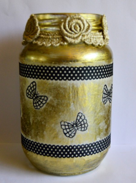 Silhouette Jar Storm Lantern - glue on lace border to neck of the jar and then add lace flowers