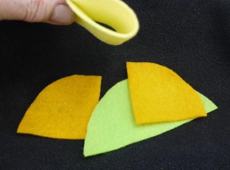 Felt Flower Brooch - cut each semi circle in half