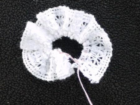 Felt Flower Brooch - gather the lace and either glue or stitch the ends together