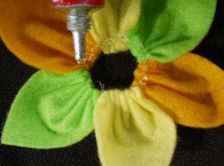 Felt Flower Brooch - apply glue around the center of the flower