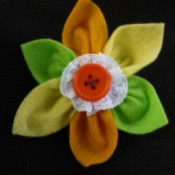 Felt Flower Brooch - finished felt flower brooch in fall colors