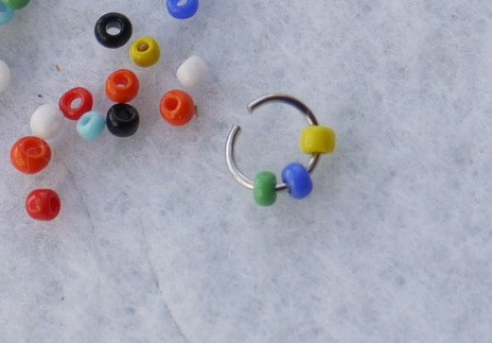 Button and Seed Bead Earrings or Pendant - put beads on the jump ring