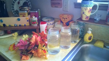 Adding fresh clear water to glass jars, for decoration.