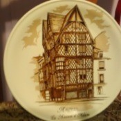 French Saxon Porcelaine Plate - tan  plate with house