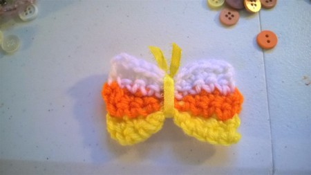 Crocheted Candy Corn Butterfly Magnet - tie ribbon in center the ends will be the antenna