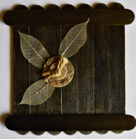 Colors of Fall Mini Canvas - arrange leaves and paper button