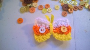 Crocheted Candy Corn Butterfly Magnet - finished magnet