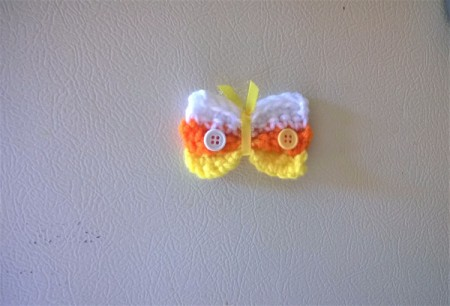 Crocheted Candy Corn Butterfly Magnet - add buttons and magnet