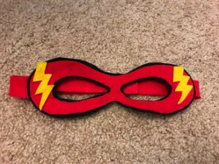 A mask for The Flash, made from felt.