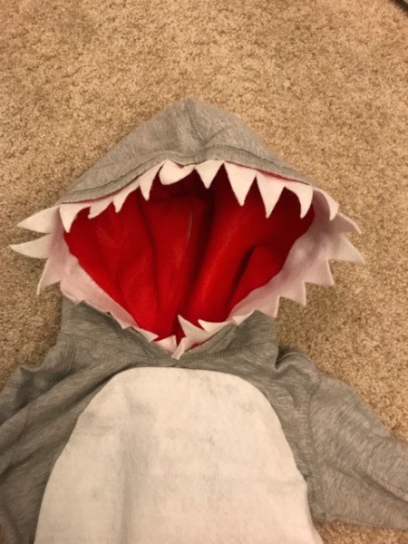 Shark Costume - add white felt teeth to the hood