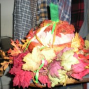 Fall Pumpkin Decoration from a Lettuce Keeper   - finished decoration