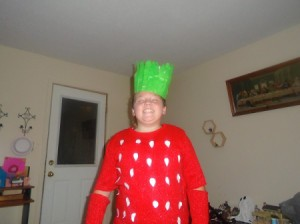 Strawberry Halloween Costume - gir wearing finished costume