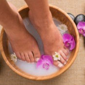 Homemade Foot Bath with Candles and Flowers