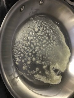 melting butter in skillet