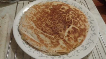 browned quesadilla on plate