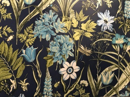Discontinued Wallpaper - floral on black background