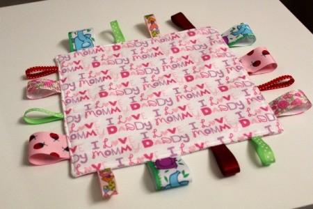 Baby Tag Blankets - pink blanket