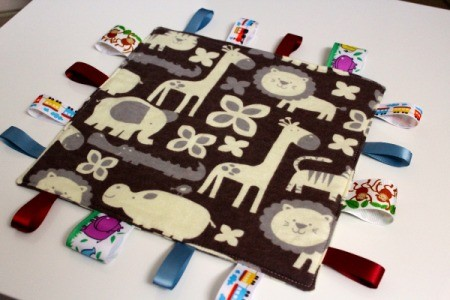 Baby Tag Blankets - cute brown fabric blanket with African animals