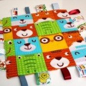 Baby Tag Blankets - finished square blanket