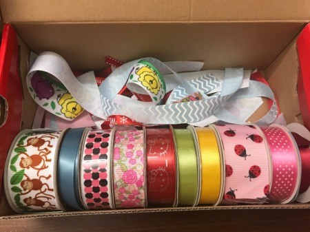 Baby Tag Blankets - box of ribbon