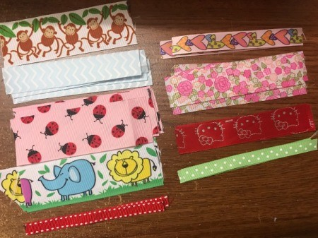 Baby Tag Blankets - cut lengths of ribbon