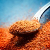 Ground Cayenne Pepper on a Spoon